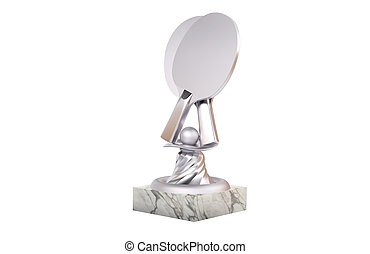 Table Tennis Silver Trophy with Marble Base