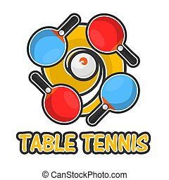 Table tennis sport colorful logotype isolated on white