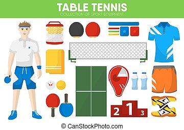 Table tennis sport equipment game player garment accessory vector icons set