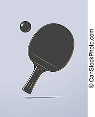 Table Tennis - Table tennis racket and ball icon vector...
