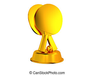 Table Tennis Trophy with a White Background