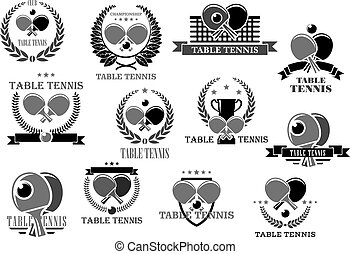 Table tennis vector icons
