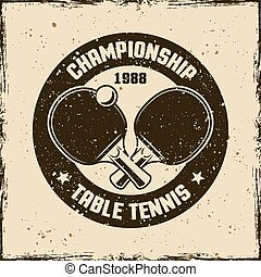 Table tennis vintage round vector emblem