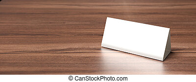 Table tent, reserved card sign empty blank on a wooden table, 3d illustration