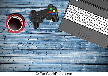 Table top view of a gamer