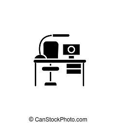 table travail, noir, icône, concept., table travail, plat, vecteur, symbole, signe, illustration.