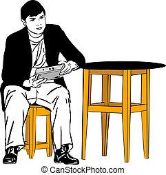 table, type, tabouret, séance