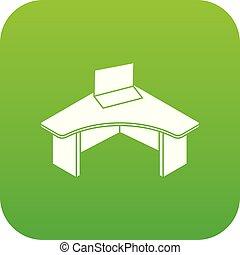 table, vecteur, vert, bureau, icône