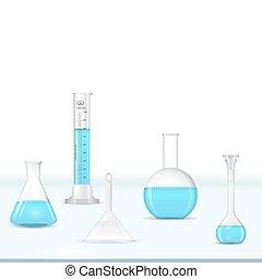 table, verrerie, laboratoire