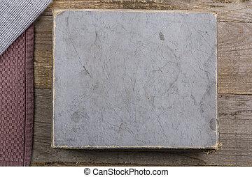 table, vieux, vendange, boîte, gris, sombre, bois