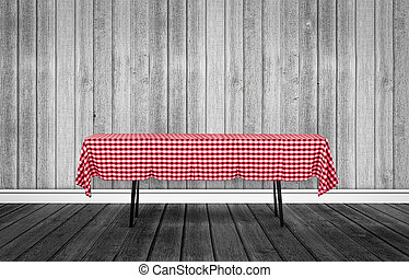 Table with a tablecloth - Wood background with verical and...