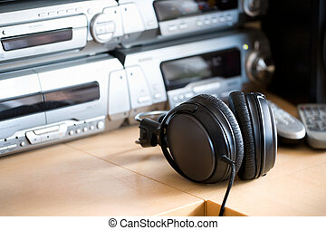 Table with audio equipment