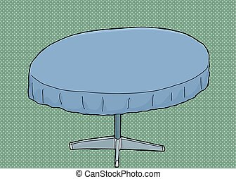 Table with Blue Tablecloth