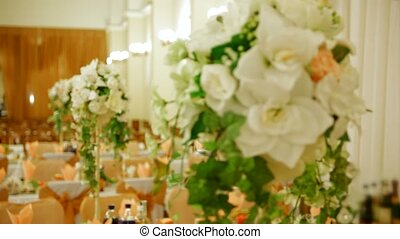 Table With Bouquets Of Flowers