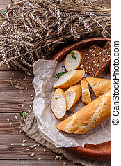 Table with bowl of bread