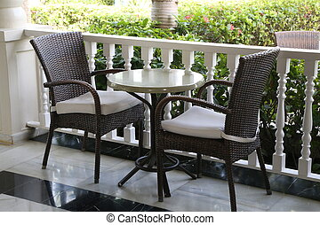 Table with chairs on the balcony