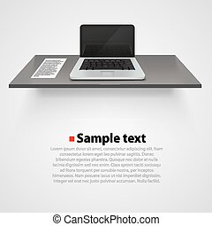 Table with computer on white background.