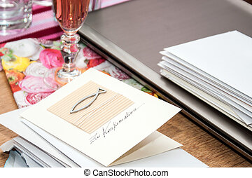 confirmation - table with congratulation-cards for...