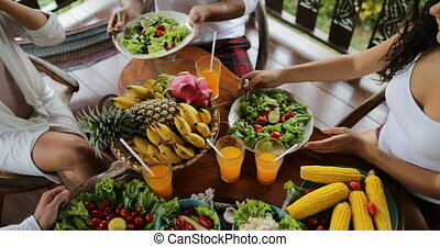 Table With Dishes Of Tropical Fruits And Salad Top Angle...