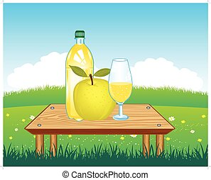Table with drink on nature