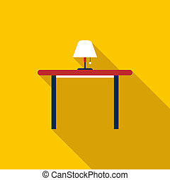 Table with floor lamp icon, flat style