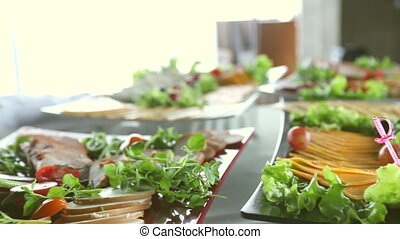 Table with food, salads, restaurant and catering concept....