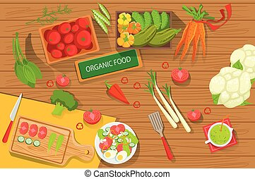 Table With Fresh Organic Vegetables And Cooking Attributes View From Above