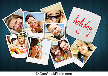 table with holiday photos of happy joying people - wooden...