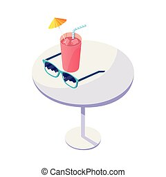 table with juice fruit cocktail and sunglasses