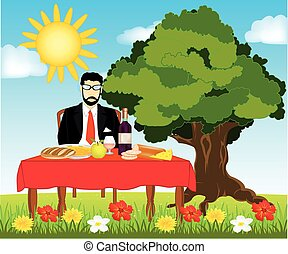 Table with meal on nature