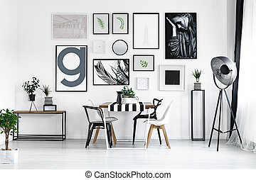 Table with modern chairs