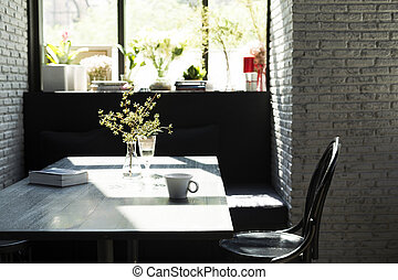 Table with nobody in afternoon sunlight