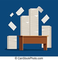 Table with pile of papers