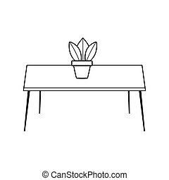 table with potted plant decoration isolated icon line style