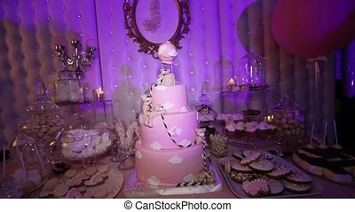 Table with sweets, Pink cake 1 year, Candy bar, Delicious...