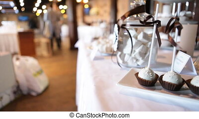 table with sweets, specialty cakes in a restaurant