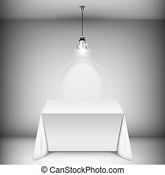 Table With Tablecloth Illuminated By Spotlight