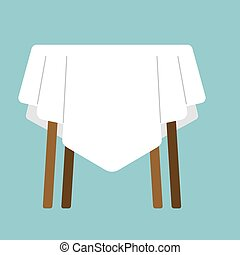 table with tablecloth isolated. Furniture on white background