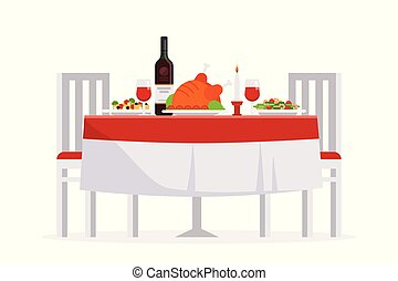 Table with tasty dishes and two chairs vector flat illustration. Romantic dinner in the restaurant concept isolated on white background.