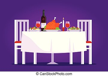 Table with tasty dishes and two chairs vector flat illustration. Romantic dinner in the restaurant concept on purple background.