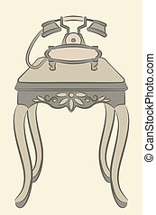 table with telephone