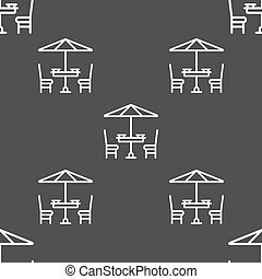 table with umbrella sign. Seamless pattern on a gray background. Vector