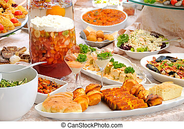 Food table with traditional Montenegrin food