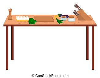 Table with Vegetables and Knife for Cooking Vector
