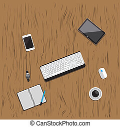 Table wood working business meeting high angle view