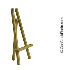 Table wooden easel tripod on white background. Isolated object. Artistic theme.