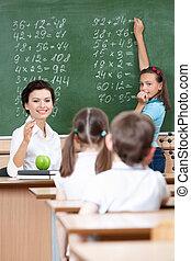 tableau, élèves, demande, prof