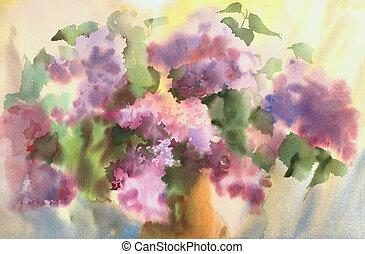tableau aquarelle, de, les, beau, flowers.