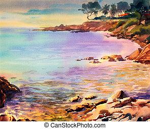 tableau aquarelle, marine