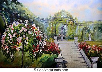 tableau aquarelle, paysage, à, fleurir, printemps, arbre,...